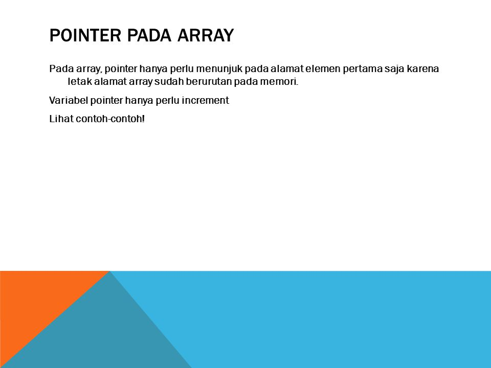 Pointer pada Array