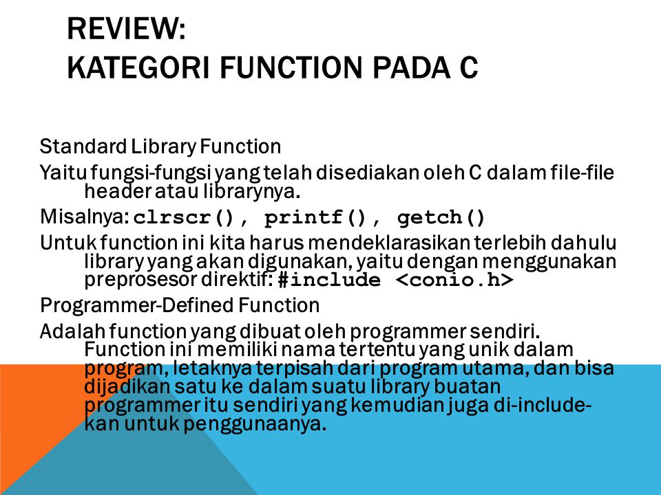 Review: Kategori Function pada C
