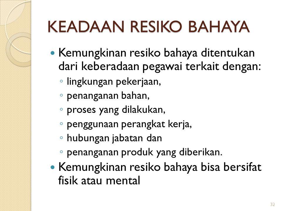 KEADAAN RESIKO BAHAYA Kemungkinan resiko bahaya ditentukan dari keberadaan pegawai terkait dengan:
