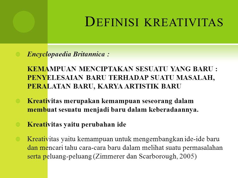 Definisi kreativitas Encyclopaedia Britannica :