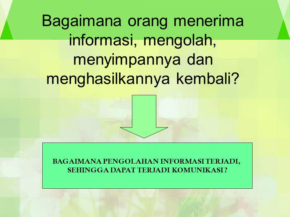 Bagaimana orang menerima informasi, mengolah, menyimpannya dan menghasilkannya kembali