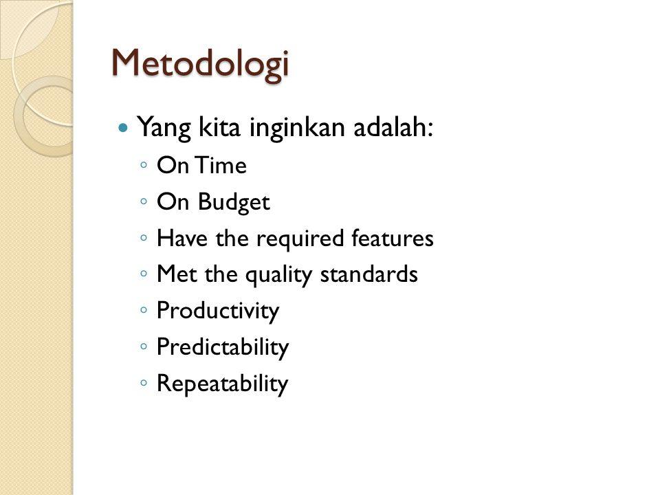 Metodologi Yang kita inginkan adalah: On Time On Budget