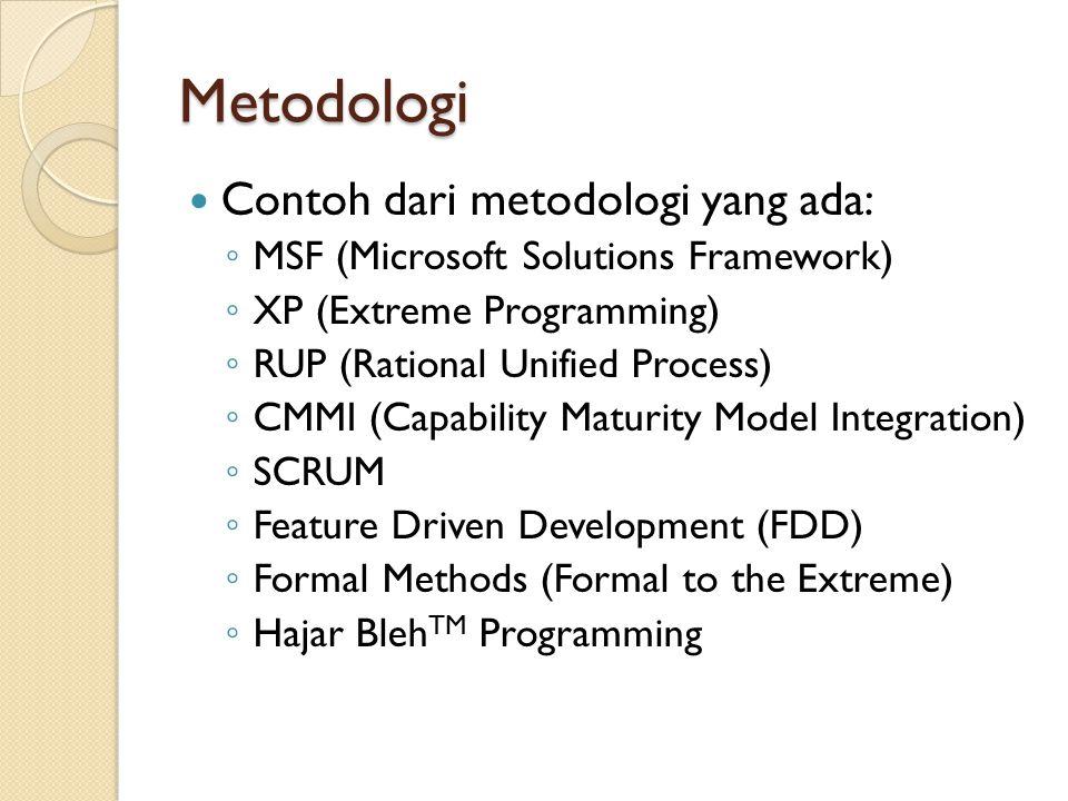 Metodologi Contoh dari metodologi yang ada: