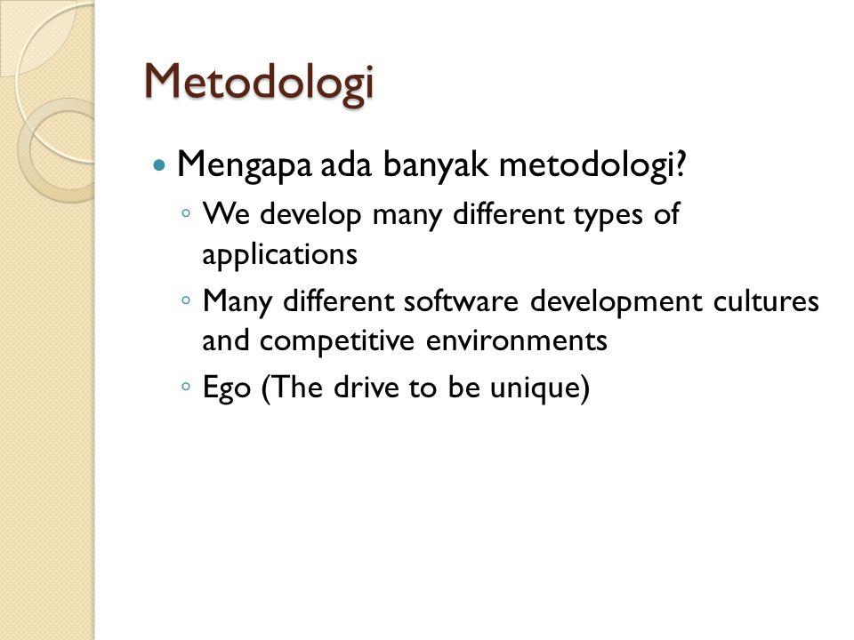 Metodologi Mengapa ada banyak metodologi