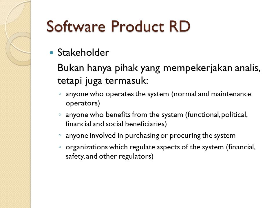 Software Product RD Stakeholder