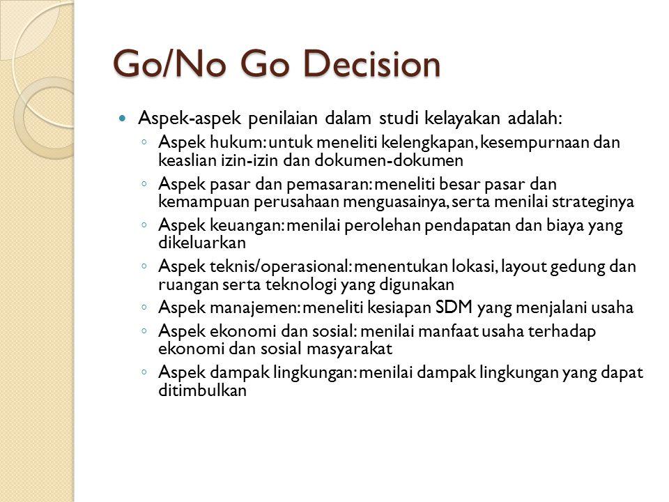 Go/No Go Decision Aspek-aspek penilaian dalam studi kelayakan adalah: