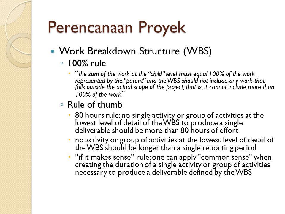 Perencanaan Proyek Work Breakdown Structure (WBS) 100% rule
