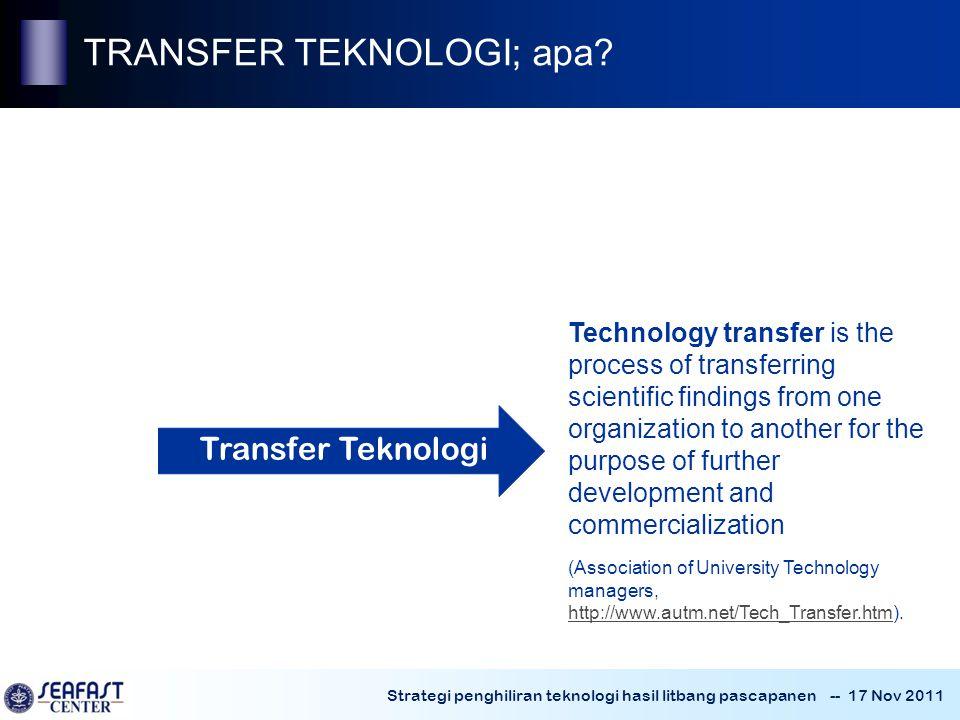~ TRANSFER TEKNOLOGI; apa Transfer Teknologi