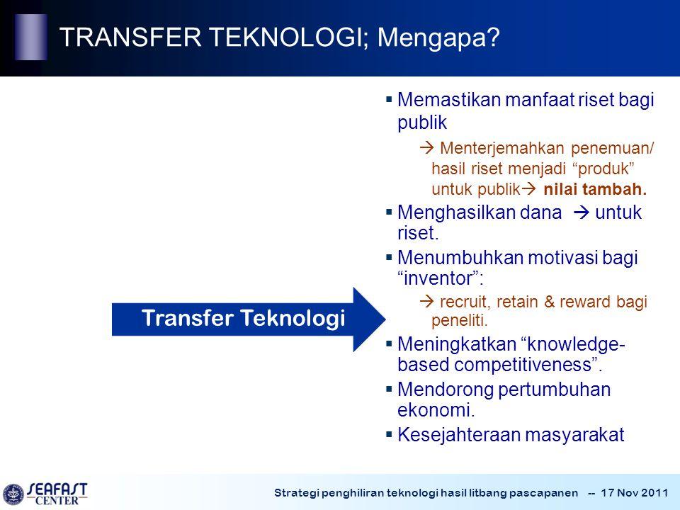 ~ TRANSFER TEKNOLOGI; Mengapa Transfer Teknologi