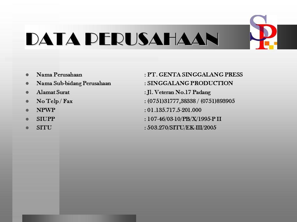 DATA PERUSAHAAN Nama Perusahaan : PT. GENTA SINGGALANG PRESS