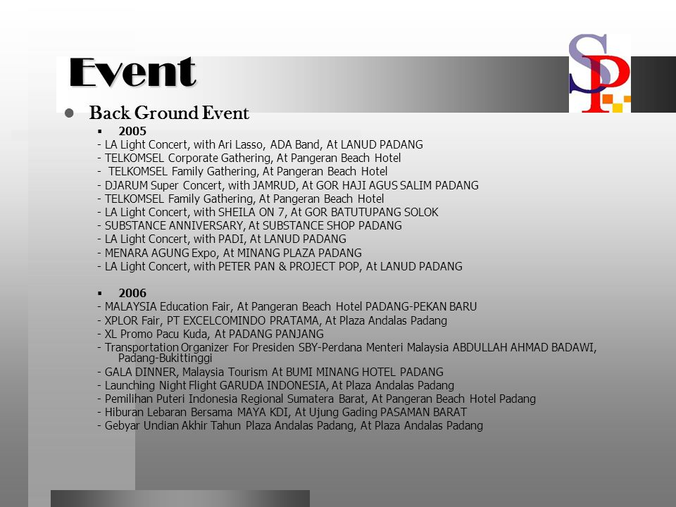 Event Back Ground Event 2005