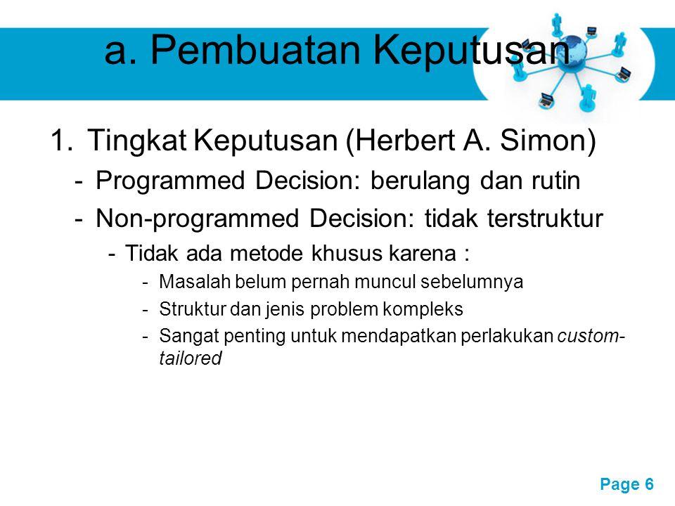 a. Pembuatan Keputusan Tingkat Keputusan (Herbert A. Simon)