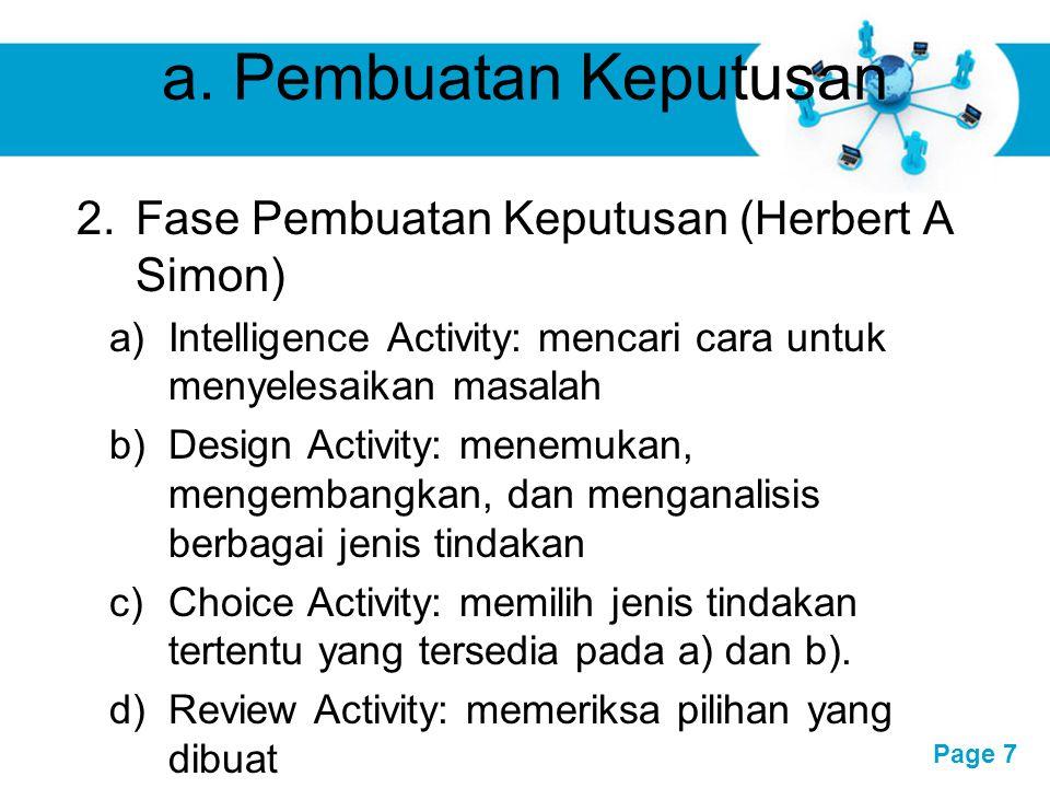 a. Pembuatan Keputusan Fase Pembuatan Keputusan (Herbert A Simon)
