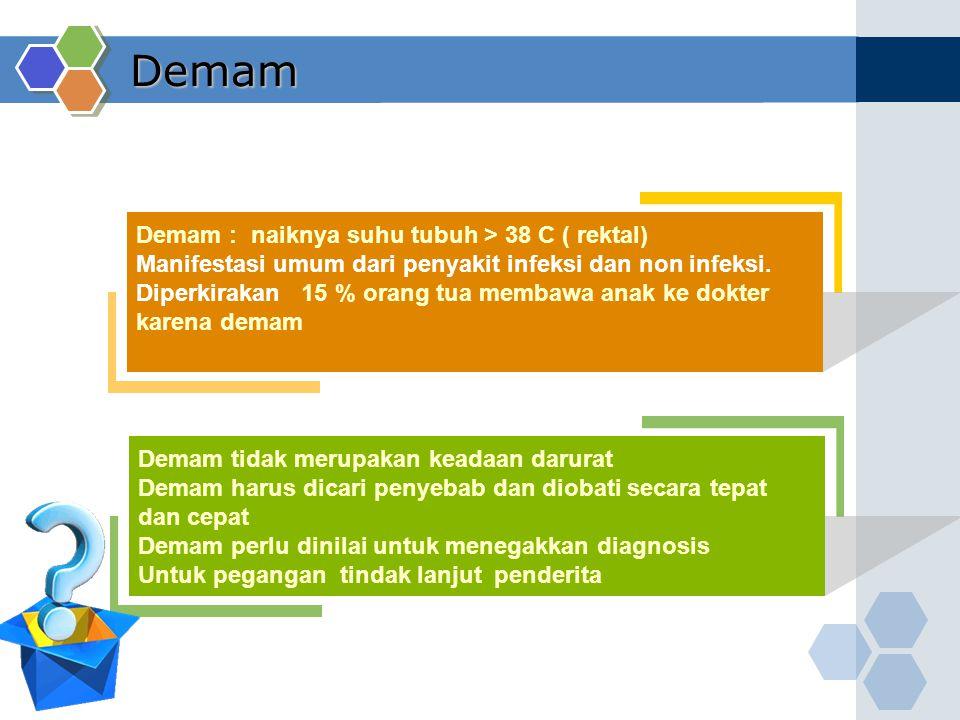 Demam Demam : naiknya suhu tubuh > 38 C ( rektal)