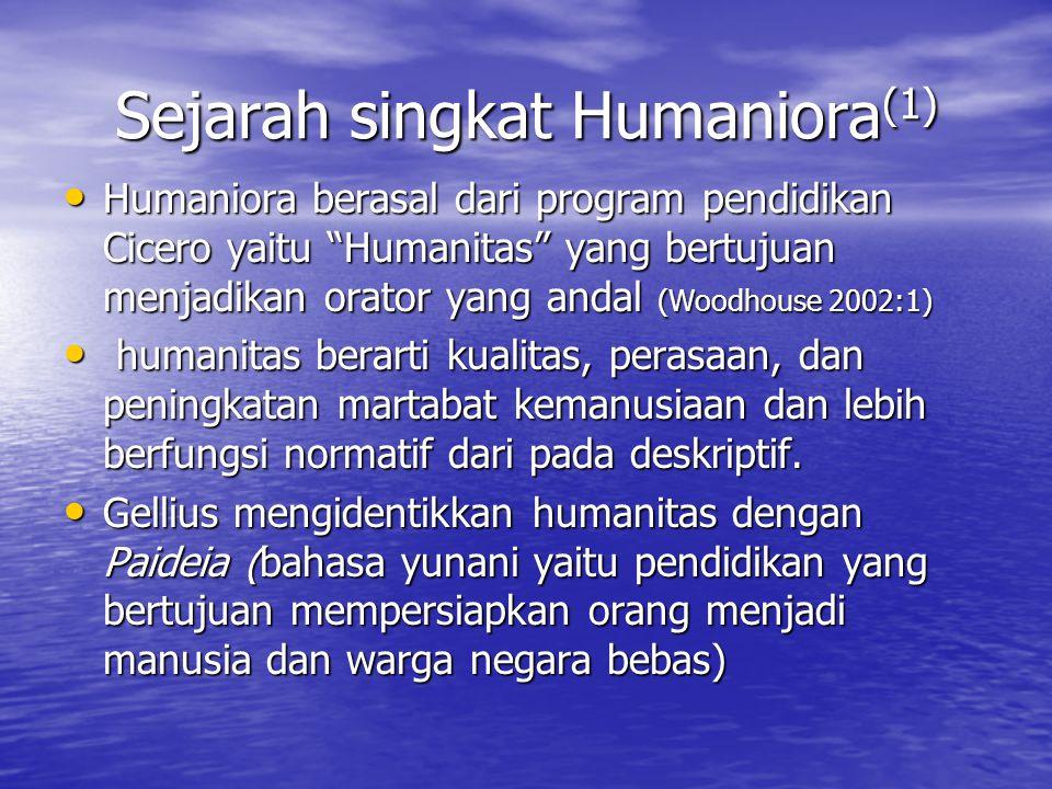 Sejarah singkat Humaniora(1)
