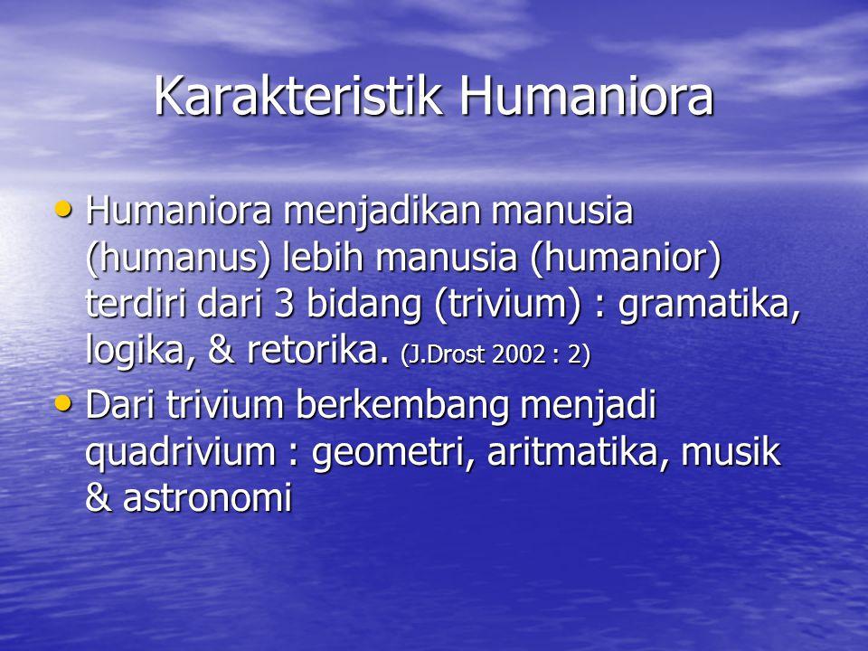 Karakteristik Humaniora