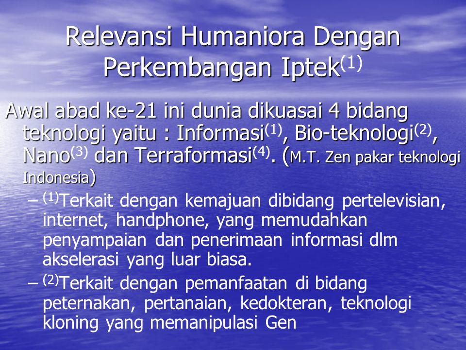 Relevansi Humaniora Dengan Perkembangan Iptek(1)