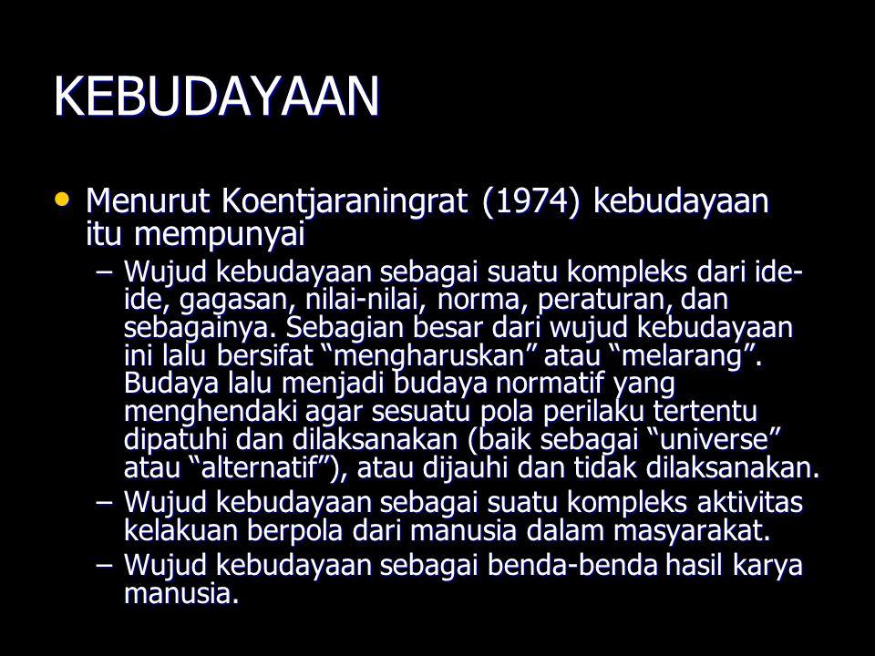 KEBUDAYAAN Menurut Koentjaraningrat (1974) kebudayaan itu mempunyai