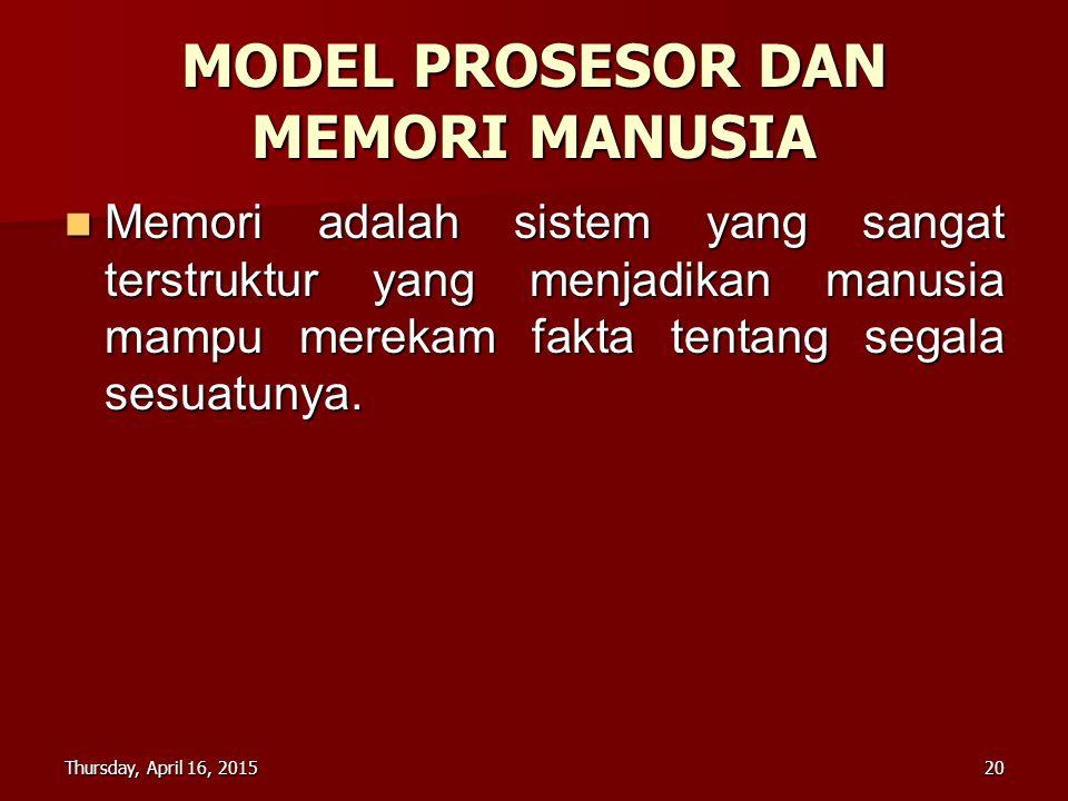 MODEL PROSESOR DAN MEMORI MANUSIA