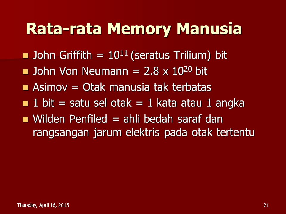 Rata-rata Memory Manusia