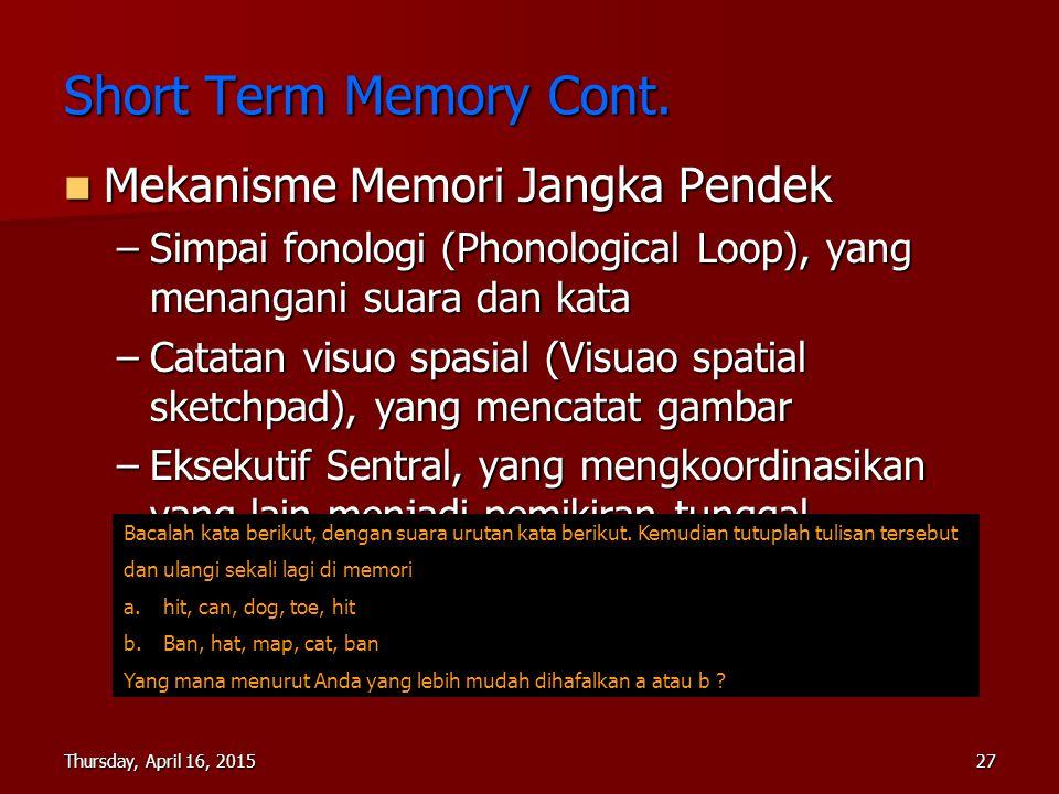 Short Term Memory Cont. Mekanisme Memori Jangka Pendek