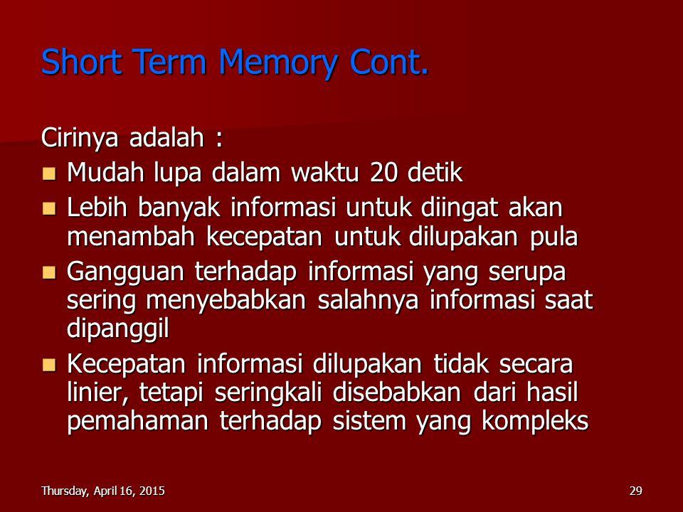 Short Term Memory Cont. Cirinya adalah :