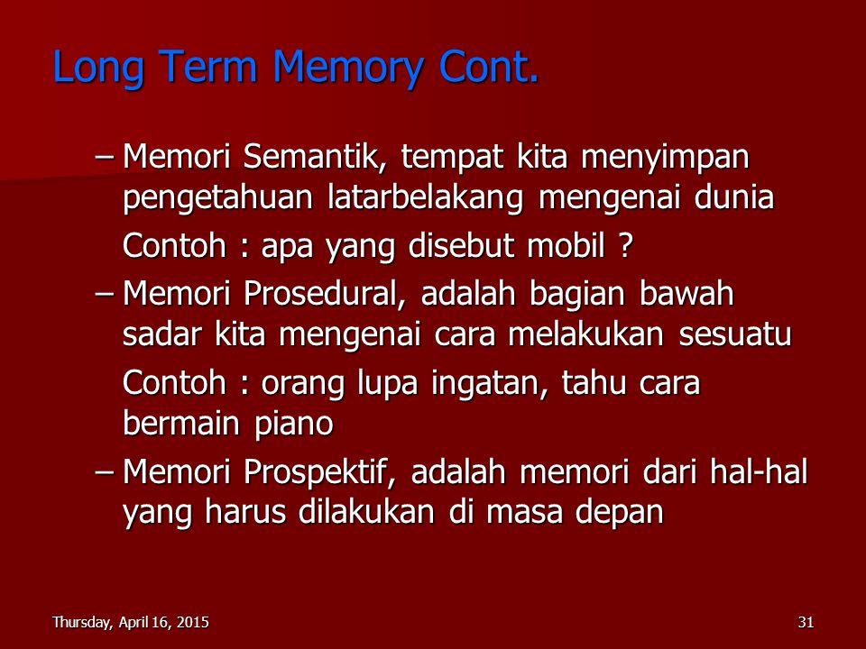 Long Term Memory Cont. Memori Semantik, tempat kita menyimpan pengetahuan latarbelakang mengenai dunia.