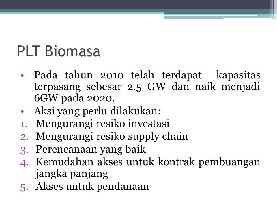 PLT Biomasa Pada tahun 2010 telah terdapat kapasitas terpasang sebesar 2.5 GW dan naik menjadi 6GW pada 2020.