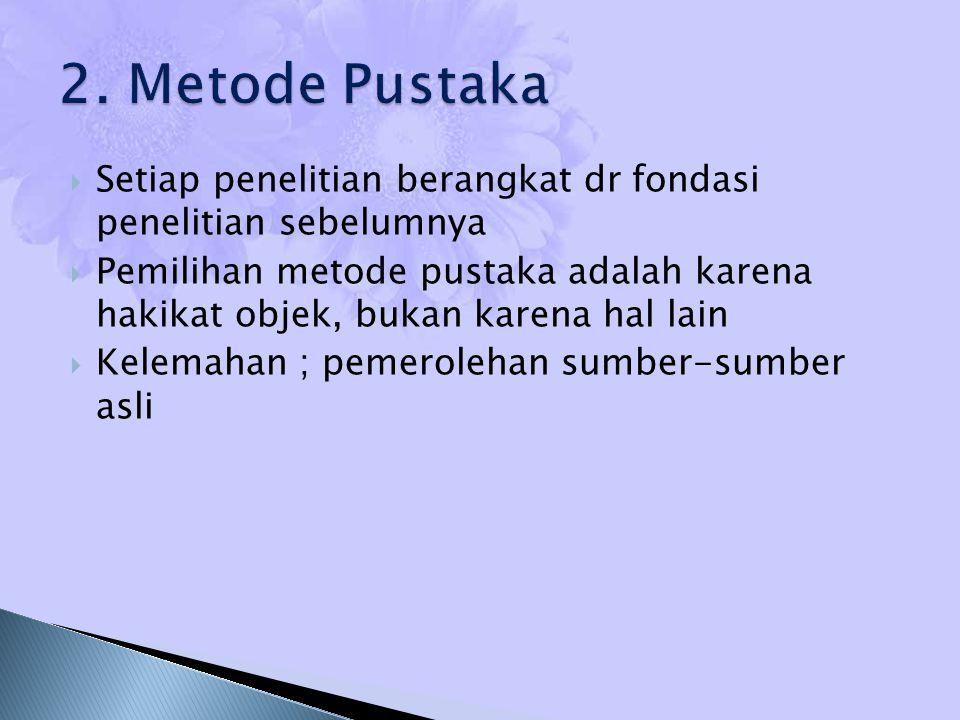2. Metode Pustaka Setiap penelitian berangkat dr fondasi penelitian sebelumnya.
