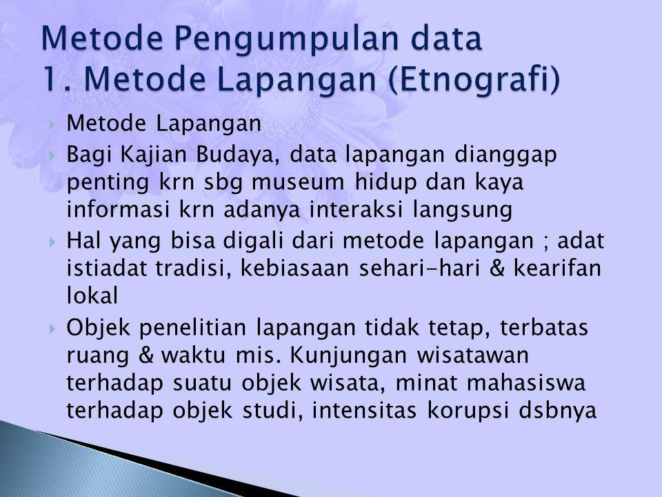 Metode Pengumpulan data 1. Metode Lapangan (Etnografi)