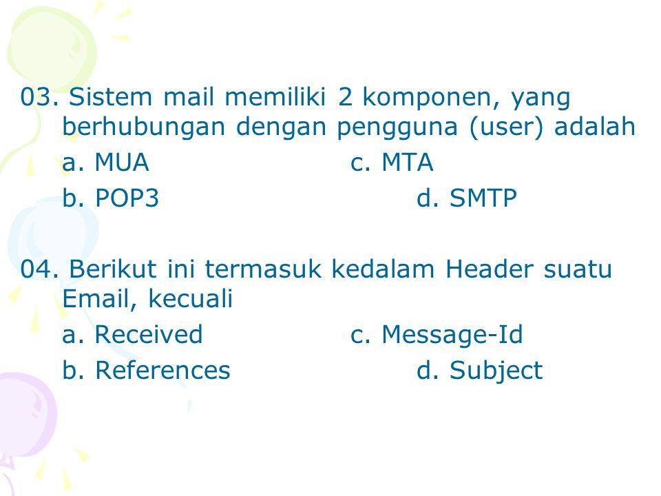 03. Sistem mail memiliki 2 komponen, yang berhubungan dengan pengguna (user) adalah