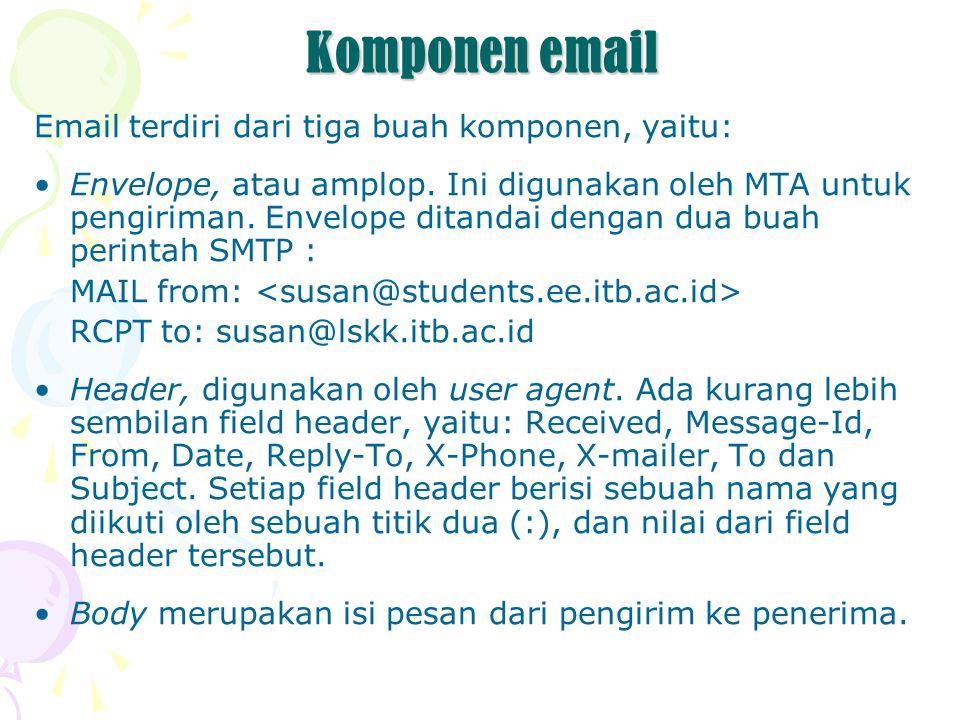 Komponen email Email terdiri dari tiga buah komponen, yaitu: