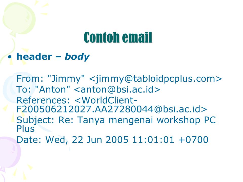 Contoh email header – body