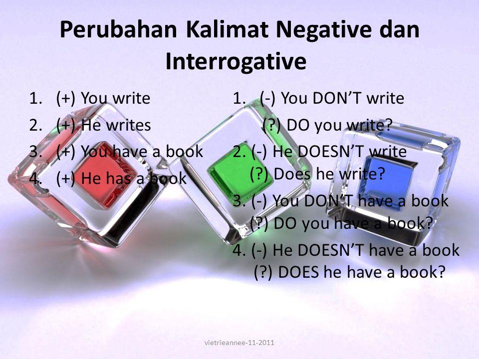Perubahan Kalimat Negative dan Interrogative