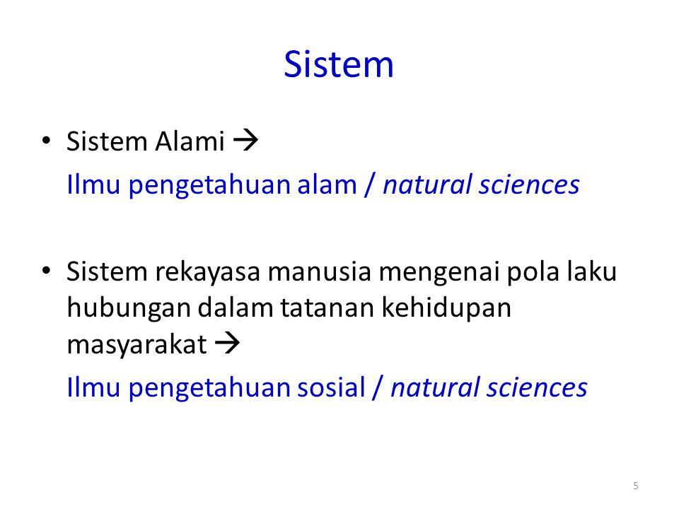 Sistem Sistem Alami  Ilmu pengetahuan alam / natural sciences