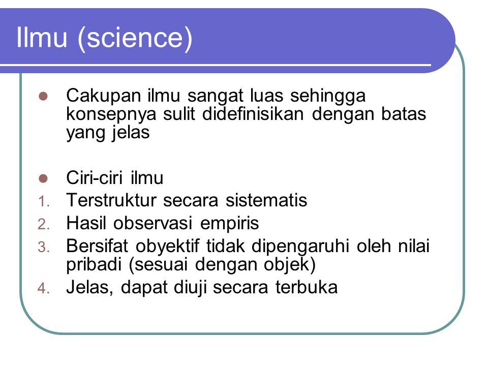 Ilmu (science) Cakupan ilmu sangat luas sehingga konsepnya sulit didefinisikan dengan batas yang jelas.