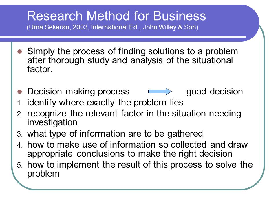 Research Method for Business (Uma Sekaran, 2003, International Ed
