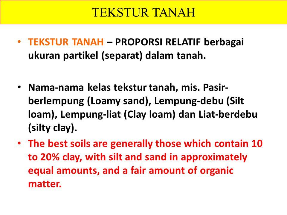 TEKSTUR TANAH TEKSTUR TANAH – PROPORSI RELATIF berbagai ukuran partikel (separat) dalam tanah.