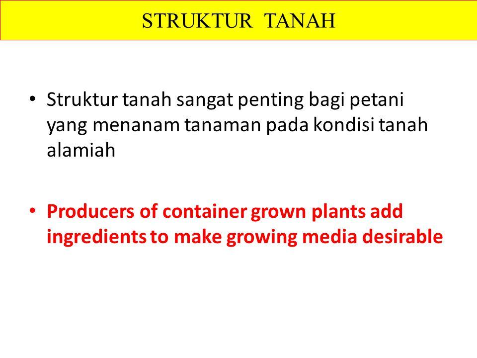STRUKTUR TANAH Struktur tanah sangat penting bagi petani yang menanam tanaman pada kondisi tanah alamiah.