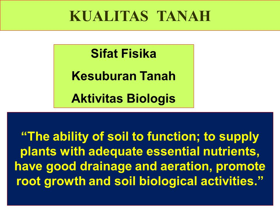KUALITAS TANAH Sifat Fisika Kesuburan Tanah Aktivitas Biologis