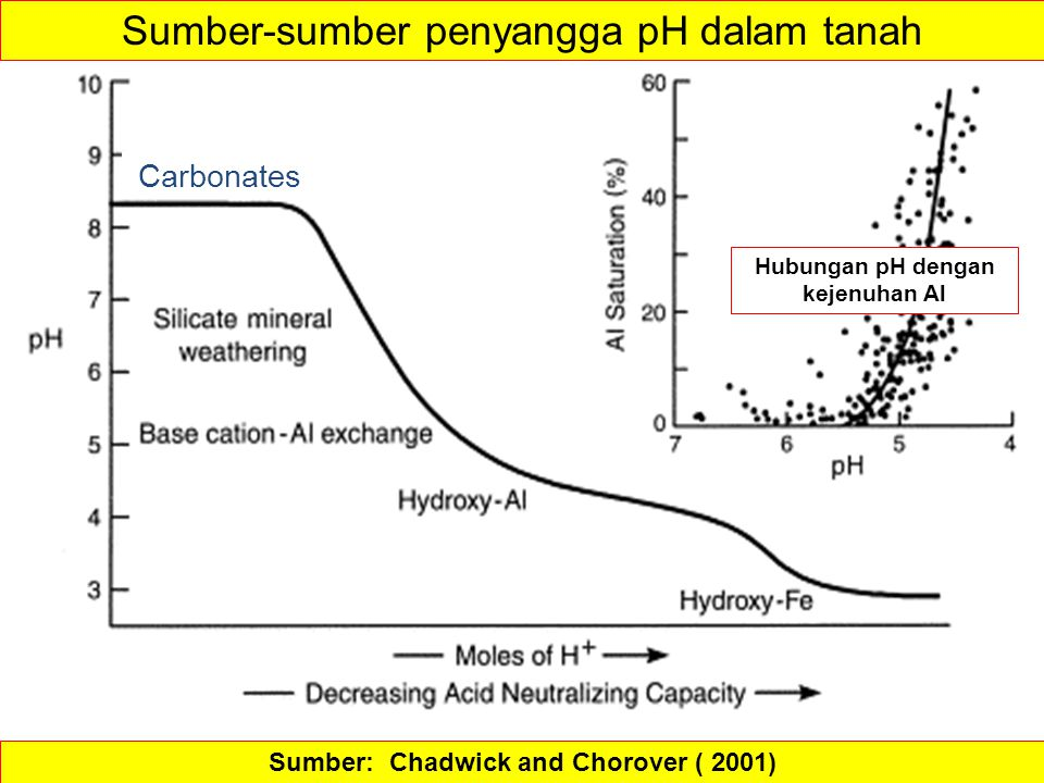 Hubungan pH dengan kejenuhan Al Sumber: Chadwick and Chorover ( 2001)