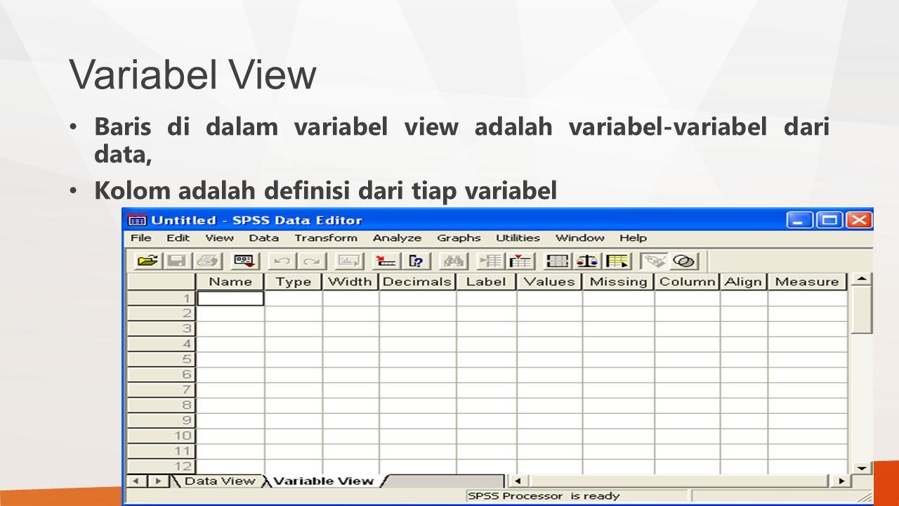 Variabel View Baris di dalam variabel view adalah variabel-variabel dari data, Kolom adalah definisi dari tiap variabel.