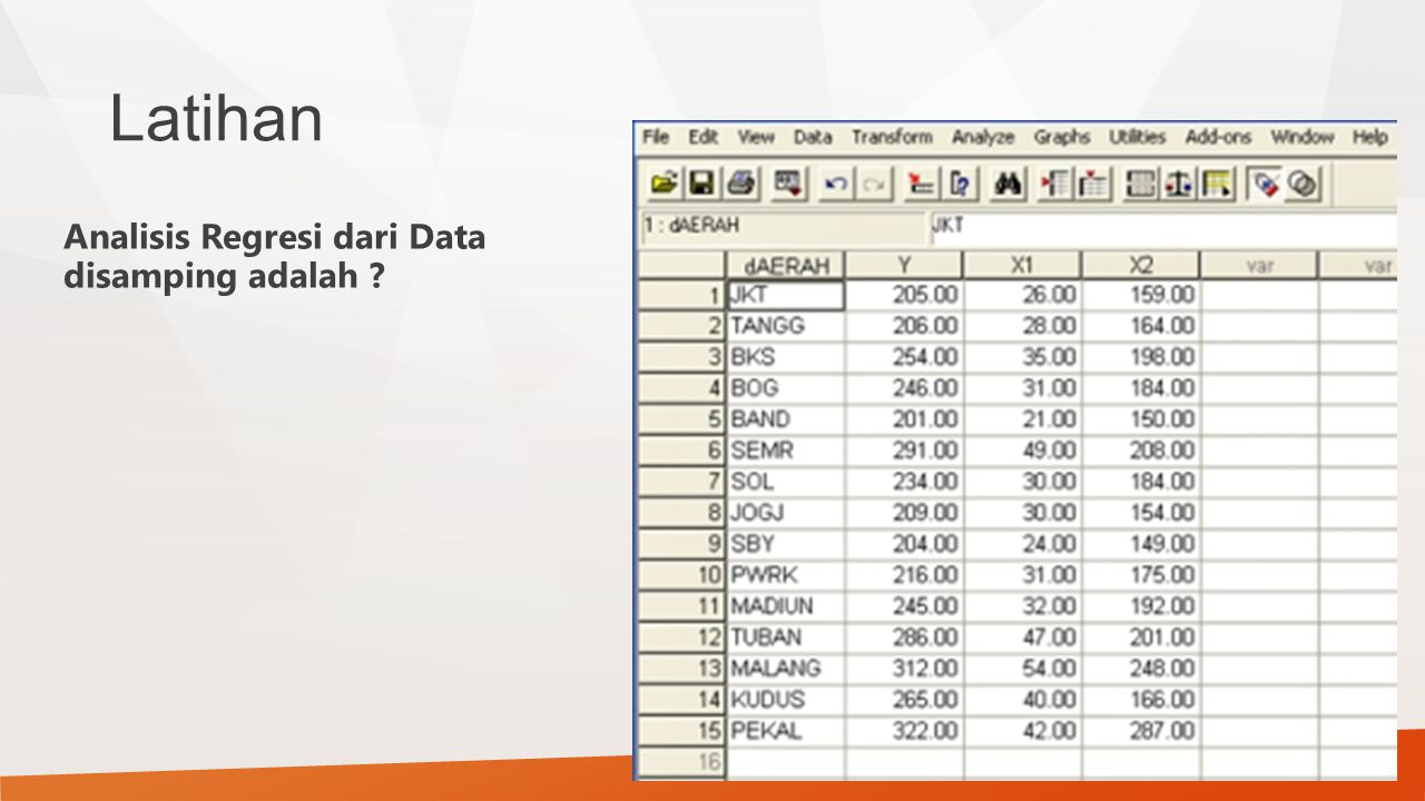 Latihan Analisis Regresi dari Data disamping adalah