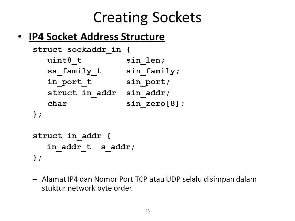 Creating Sockets IP4 Socket Address Structure struct sockaddr_in {
