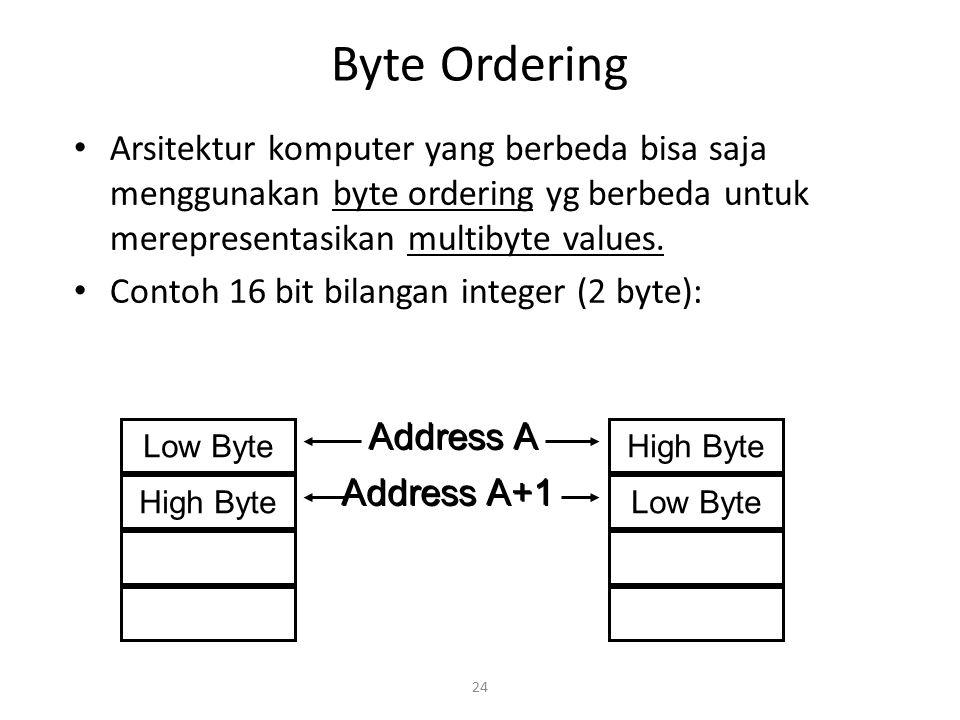 Byte Ordering Arsitektur komputer yang berbeda bisa saja menggunakan byte ordering yg berbeda untuk merepresentasikan multibyte values.