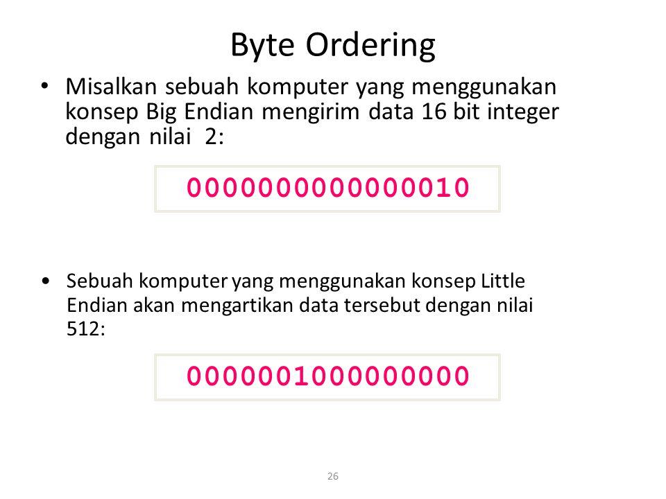 Byte Ordering Misalkan sebuah komputer yang menggunakan konsep Big Endian mengirim data 16 bit integer dengan nilai 2: