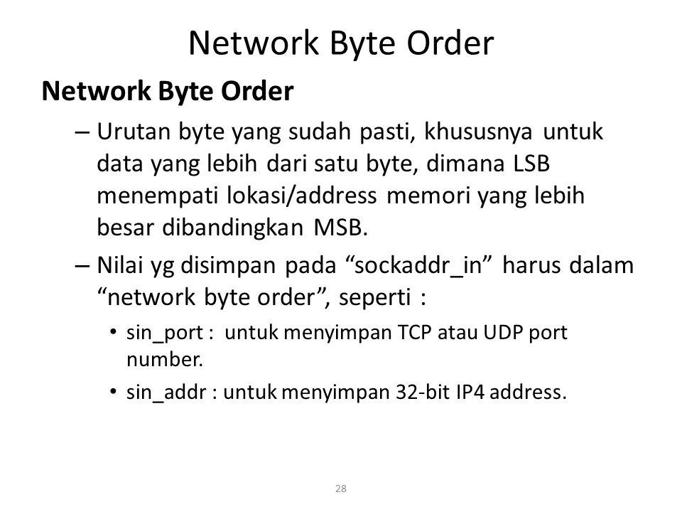 Network Byte Order Network Byte Order