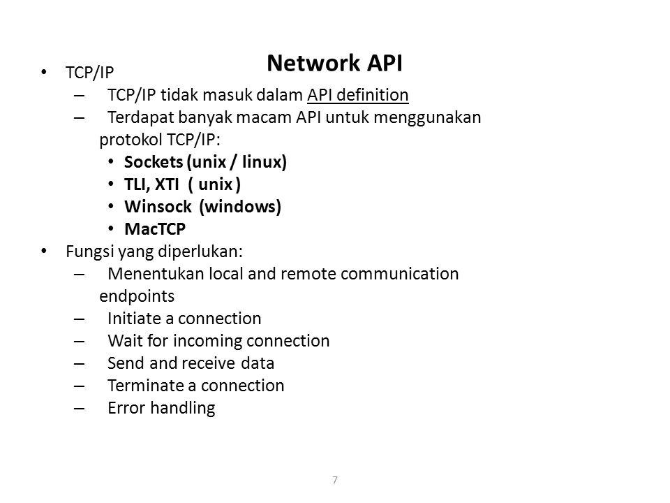 Network API TCP/IP TCP/IP tidak masuk dalam API definition