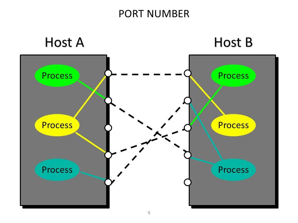 Host A Host B PORT NUMBER Process Process Process Process Process