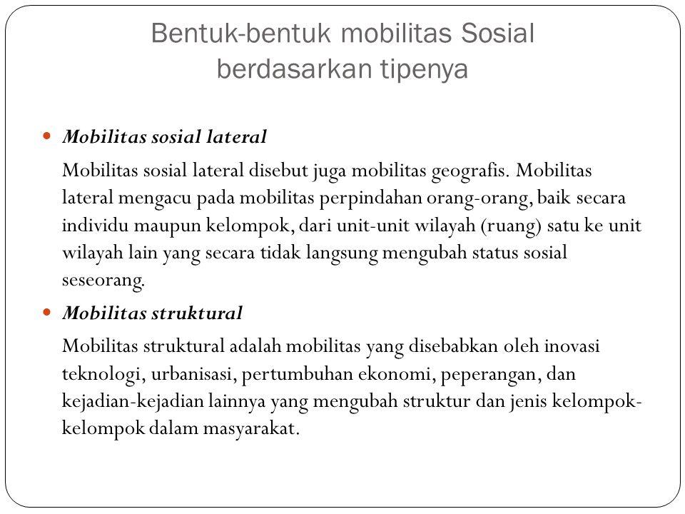 Bentuk-bentuk mobilitas Sosial berdasarkan tipenya